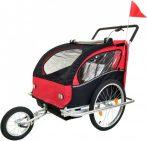 2 üléses kerékpár utánfutó piros-fekete színben
