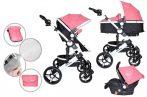 MamaKiddies Venus 3az1-ben multifunkciós babakocsi kiegészítőkkel pink színben + Ajándék