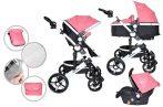 Mama Kiddies Venus 3az1-ben multifunkciós babakocsi kiegészítőkkel pink színben + Ajándék