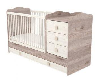 3 fiókos kombinált ágyneműtartós gyermekágy szürkésbarna színben