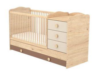 3 fiókos kombinált ágyneműtartós gyermekágy mandula-bézs színben
