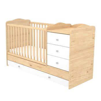 3 fiókos kombinált ágyneműtartós gyermekágy világos színben