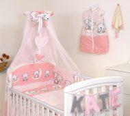 MamaKiddies Baby Bear 6 részes ágynemű 360°-os rácsvédővel rózsaszín macis mintával