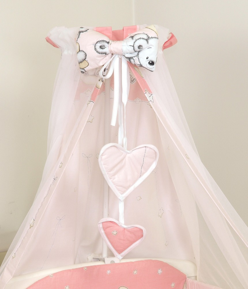 MamaKiddies Baby Bear 6 részes ágynemű 360°-os rácsvédővel rózsaszín macis  mintával 4bd3b430cd