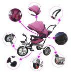 MamaKiddies full extrás fektethető 4az1-ben tricikli tolókarral és lábtartóval pink színben (360°-ban forgatható ülés)