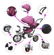 Black November - MamaKiddies full extrás fektethető 4az1-ben tricikli tolókarral és lábtartóval pink színben (360°-ban forgatható ülés)