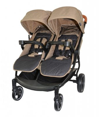 Mama Kiddies TWIN JAM ikerbabakocsi barna színben + ajándék dupla cumisüvegtartóval