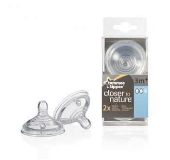 2 db Közepes folyású BPA-mentes Tommee Tippee cumisüveg cumi