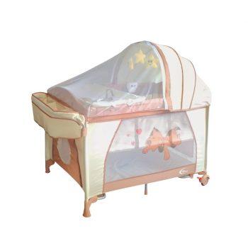 Mama Kiddies VIP bézs (emelhető magasságú és ringatható) Utazóágy + Szúnyogháló + Ajándék