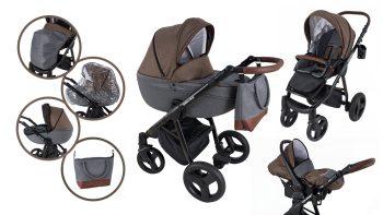 Mama Kiddies Voyage Collection 3az1-ben multifunkciós babakocsi barna-szürke színben + ajándék