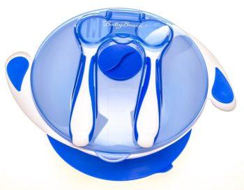 Tapadókorongos tányér tetővel és evőeszközzel