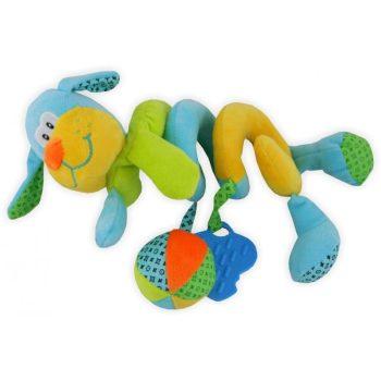 Kutyusos spirál fejlesztő játék babakocsira / babahordozóra - sárga, kék, zöld