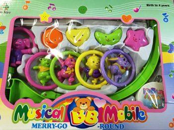 Forgó zenélő állatos játék kiságyra - nagy méretű díszdobozos csomagolásban