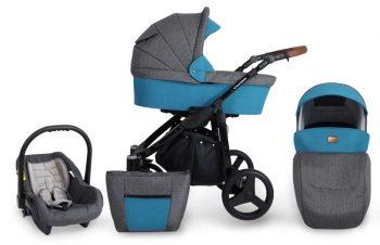 Mama Kiddies Titan 3az1-ben multifunkciós babakocsi Ocean színben + ajándék