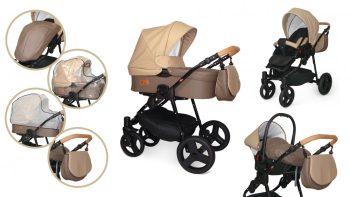 Mama Kiddies Turismo 3az1-ben multifunkciós full textilbőr babakocsi szett kiegészítőkkel bézs-barna színben
