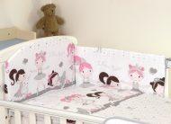 MamaKiddies Baby Bear 5 részes ágynemű 180°-os rácsvédővel fehér-szürke színben balett mintával