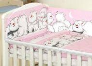 MamaKiddies Baby Bear 5 részes ágynemű 180°-os rácsvédővel pink színben jegesmacis mintával