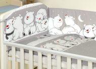 MamaKiddies Baby Bear 5 részes ágynemű 180°-os rácsvédővel szürke színben jegesmacis mintával