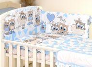 MamaKiddies Baby Bear 5 részes ágynemű 360°-os rácsvédővel kék-fehér színben baglyos mintával