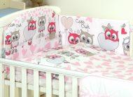 Mama Kiddies Baby Bear 5 részes babaágynemű 180°-os rácsvédővel pink-fehér színben baglyos mintával