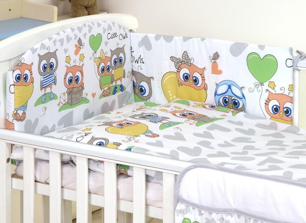 MamaKiddies Baby Bear 5 részes ágynemű 360°-os rácsvédővel szürke-fehér  színben baglyos ef45329b08