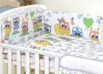 Mama Kiddies Baby Bear 5 részes babaágynemű 180°-os rácsvédővel szürke-fehér színben baglyos mintával