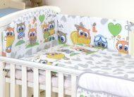 MamaKiddies Baby Bear 5 részes ágynemű 180°-os rácsvédővel szürke-fehér színben baglyos mintával