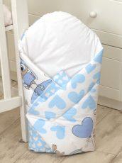 MamaKiddies Baby Bear pólya kék-fehér színben bagoly mintával