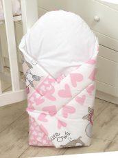 Mama Kiddies Baby Bear pólya pink-fehér színben bagoly mintával