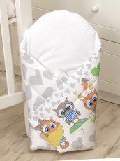 MamaKiddies Baby Bear pólya szürke-fehér színben bagoly mintával