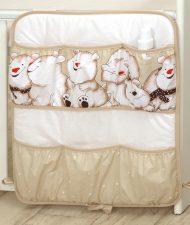 MamaKiddies Baby Bear zsebes tároló világosbarna színben jegesmaci mintával