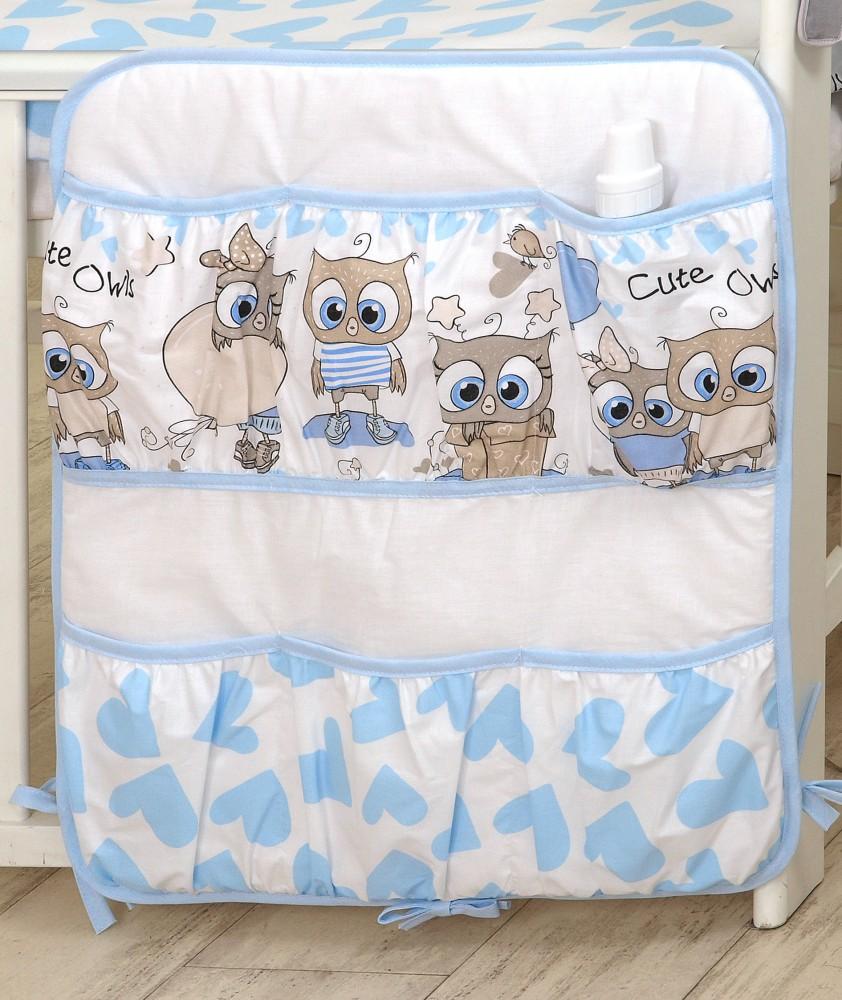 MamaKiddies Baby Bear zsebes tároló kék-fehér színben baglyos mintával c11834f968