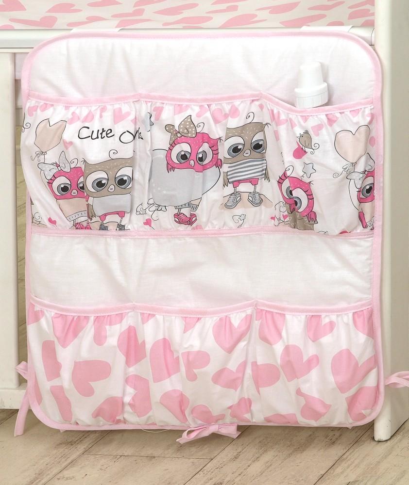 MamaKiddies Baby Bear zsebes tároló pink-fehér színben baglyos mintával 39eced1800