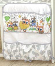 MamaKiddies Baby Bear zsebes tároló szürke-fehér színben baglyos mintával