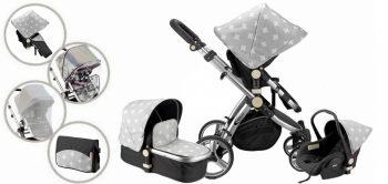 Mama Kiddies Prémium BabyBee (Australian Edition) 3 az 1-ben babakocsi kiegészítőkkel szürke-fekete-fehér színben + Ajándék