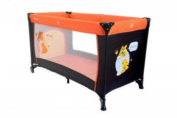 BABYMAXI utazóágy narancs-fekete színben ajándék szúnyoghálóval