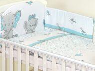 Mama Kiddies Baby Bear 5 részes babaágynemű 180°-os rácsvédővel türkiz színben elefántos mintával