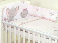 MamaKiddies Baby Bear 5 részes ágynemű 180°-os rácsvédővel rózsaszín színben elefántos mintával