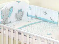 MamaKiddies Baby Bear 6 részes ágynemű 180°-os rácsvédővel türkiz színben elefántos mintával