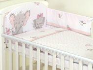 Mama Kiddies Baby Bear 6 részes babaágynemű 180°-os rácsvédővel rózsaszín színben elefántos mintával