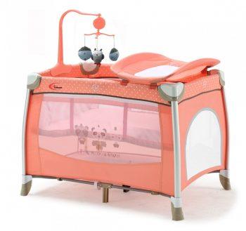 KIÁRUSÍTÁS - MamaKiddies TravelStar emelhető magasságú utazóágy pelenkázóval barack színben + ajándék zenélő forgó játékokkal