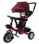 Mama Kiddies Major Trike tricikli szülőkormánnyal és lábtartóval piros színben (360°-ban forgatható ülés)