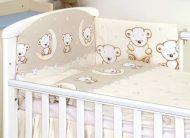 MamaKiddies Baby Bear 5 részes ágynemű 180°-os rácsvédővel bézs macis mintával