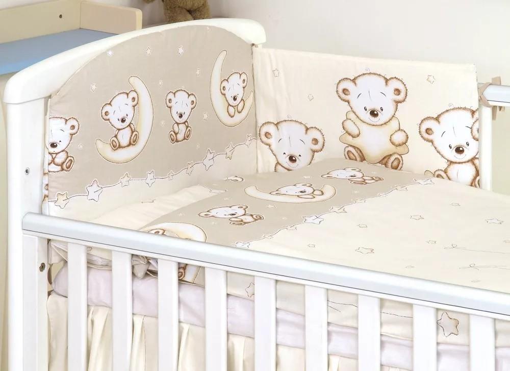 MamaKiddies Baby Bear 5 részes ágynemű 180°-os rácsvédővel bézs macis  mintával 48e9524959