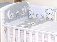Mama Kiddies Baby Bear 5 részes babaágynemű 180°-os rácsvédővel szürke macis mintával