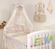 MamaKiddies Baby Bear 6 részes ágynemű 180°-os rácsvédővel bézs macis mintával