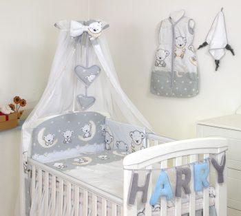 Mama Kiddies Baby Bear 6 részes babaágynemű 180°-os rácsvédővel szürke macis mintával