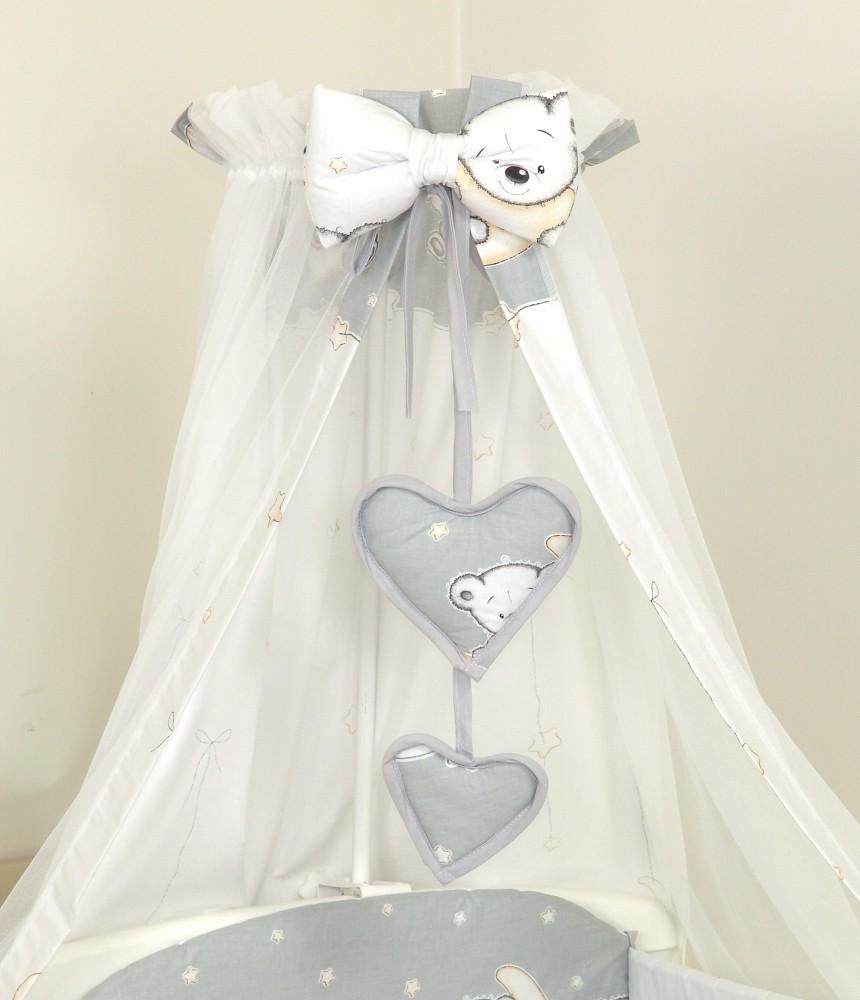 MamaKiddies Baby Bear 6 részes ágynemű 180°-os rácsvédővel szürke macis  mintával c67352c052