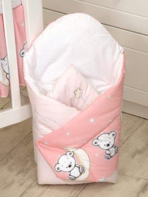 Mama Kiddies Baby Bear pólya rózsaszín macis mintával