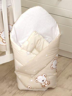 Mama Kiddies Baby Bear pólya bézs macis mintával